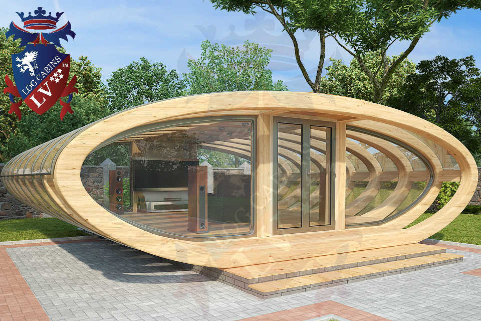 Curved Cinema Pod Log Cabins LV  744