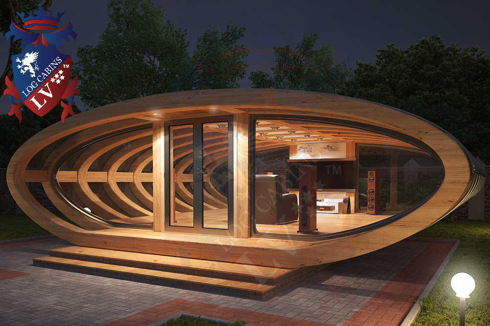 Curved Cinema Pod Log Cabins LV  748