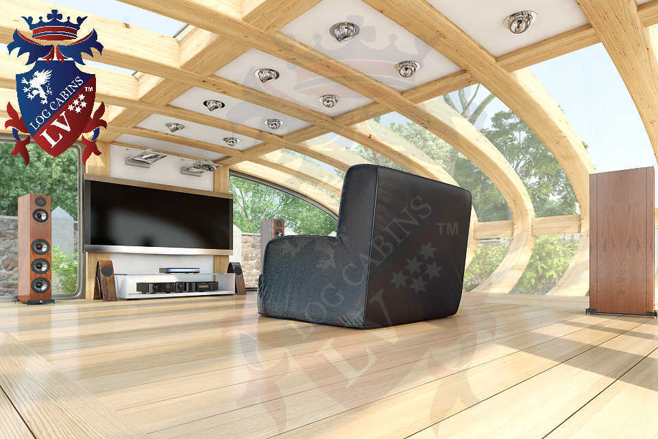 Curved Cinema Pod Log Cabins LV  750