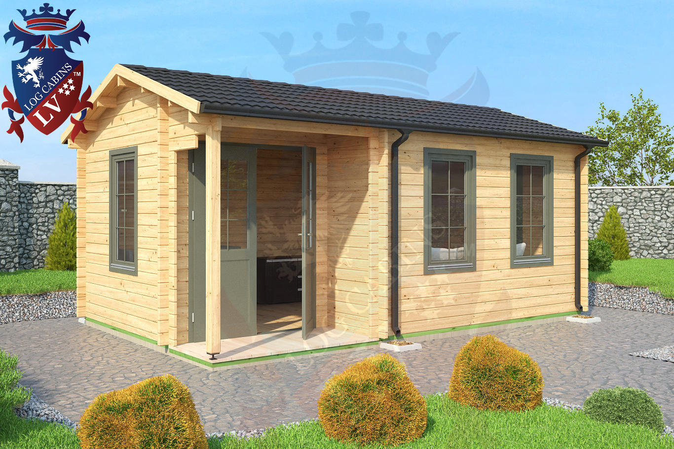 Deluxe Garden Office Log Cabin 5.5m X 3.5m. Full resolution  snapshot, nominally Width 1366 Height 910 pixels, snapshot with #097AC2.