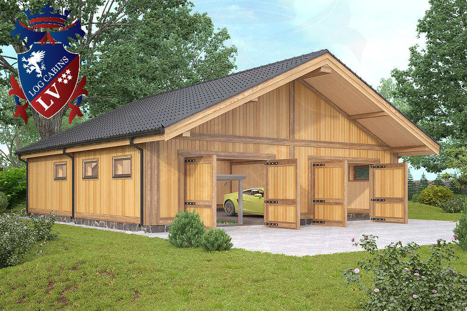 Timber frame laminated garages from logcabins lv log for Log garage designs