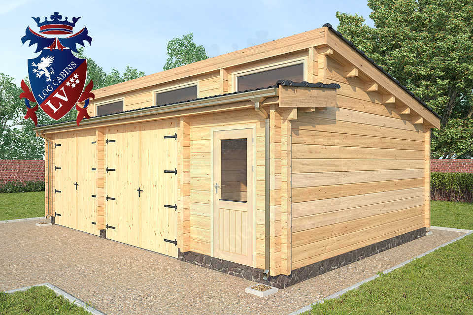 Log Cabin Glulam Garages 80mm  12