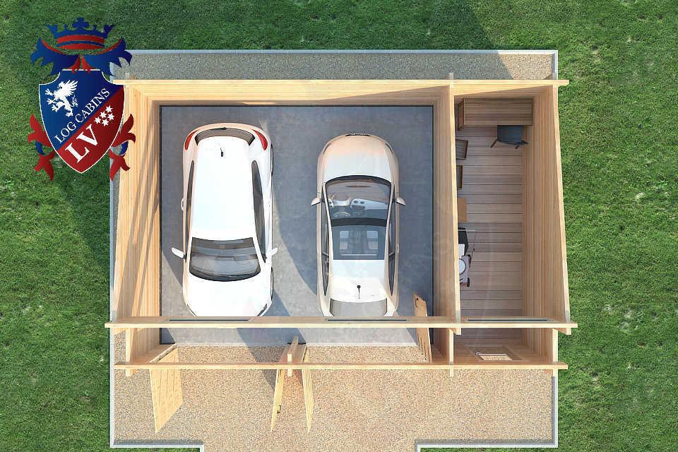 Log Cabin Glulam Garages 80mm  34