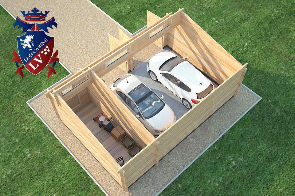 Log Cabin Glulam Garages 80mm  45