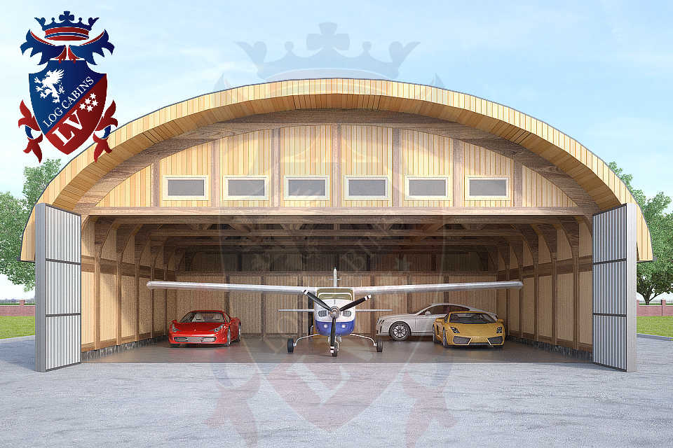 Logcabins.lv Timber Frame Aircraft Hanger  033