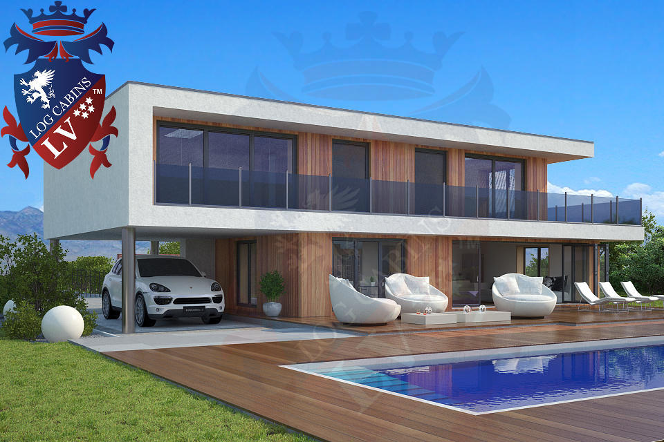 Modern timber frame homes 4 bed energy efficient log for Energy efficient kit homes