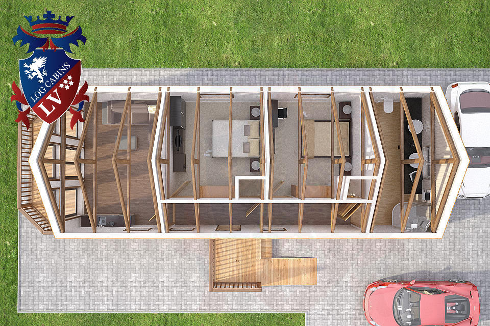 Residential Larch Cabins 13.8m x 5.5m 6
