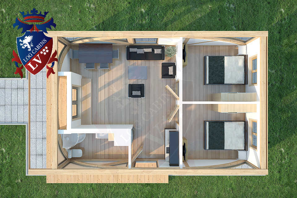 Sunshine 2 bed residential timber frame lodge 6m x 9m for Kitchen design 6m x 4m