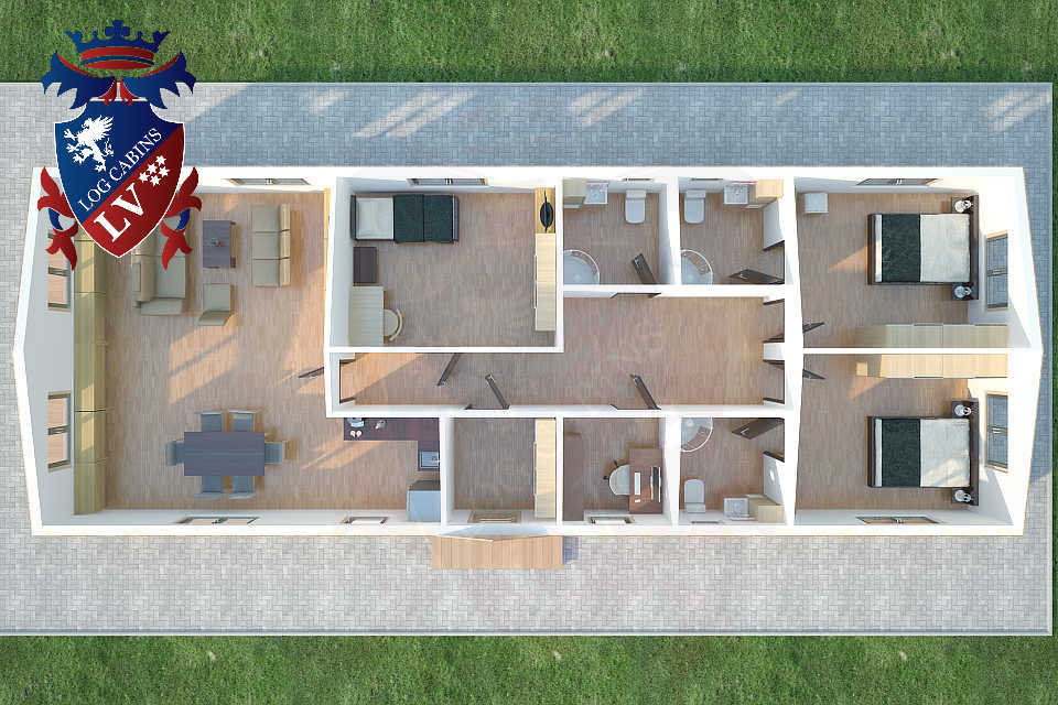 Timber Frame Residential Park Home 3 Bedrooms 6.7m x 18.0m  48