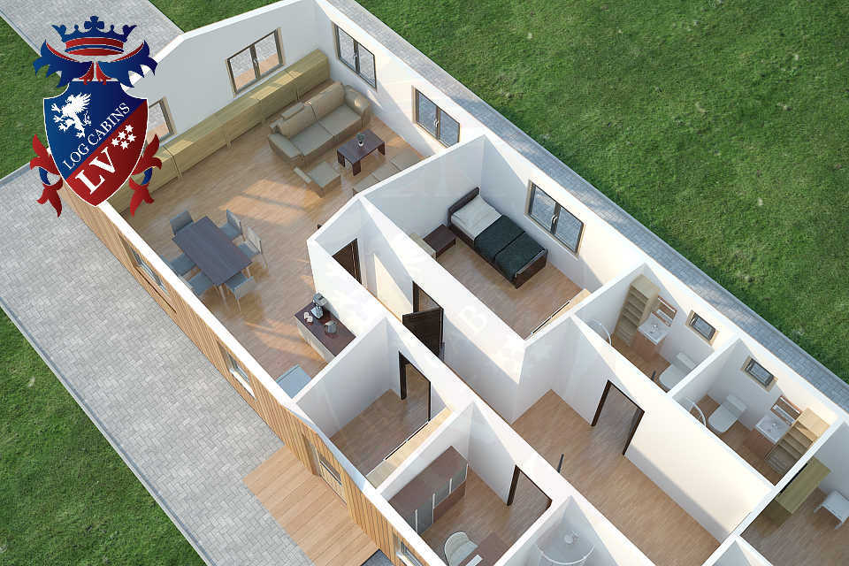 Timber Frame Residential Park Home 3 Bedrooms 6.7m x 18.0m  62