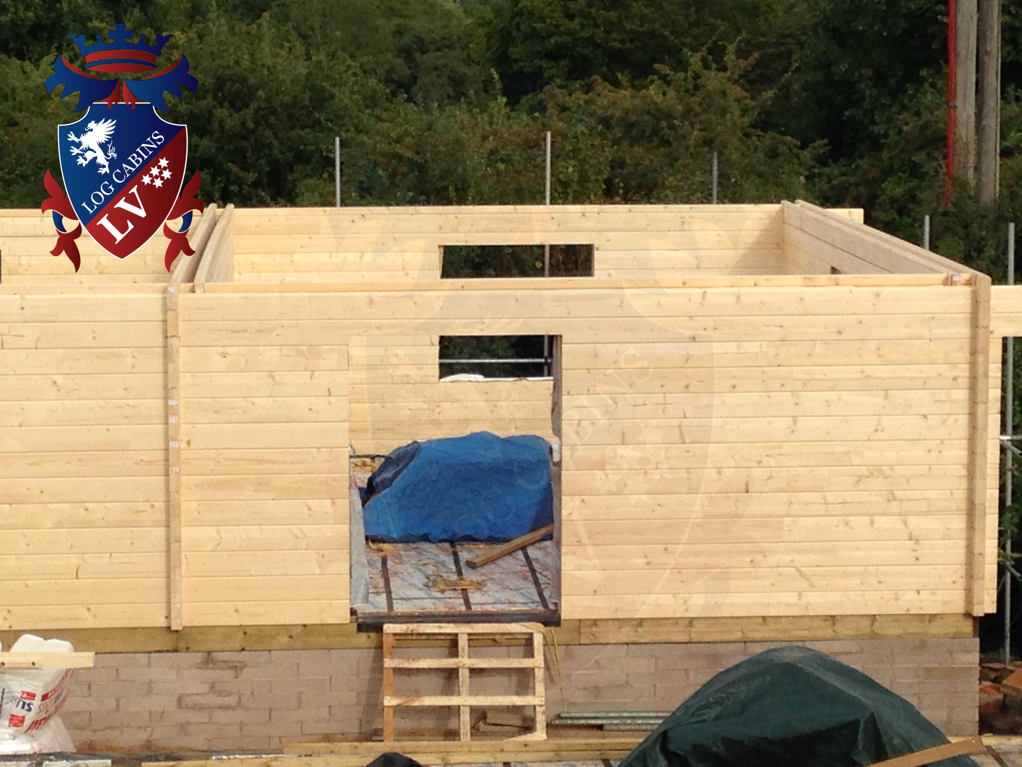 Twin Skin 80+80 Glulam Log Cabins  Educational Buildings  38