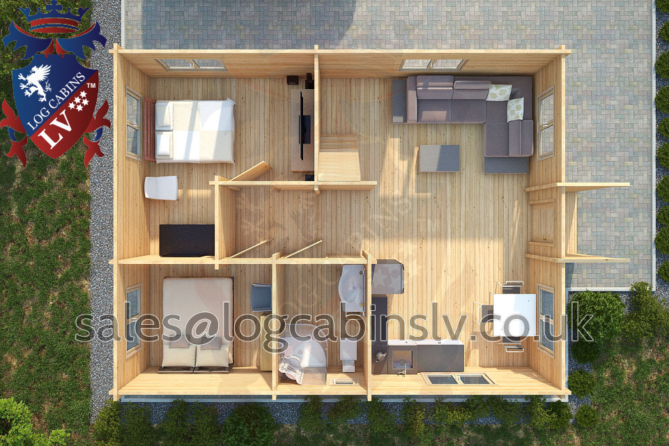 Residential Type Multi Room Log Cabin 6 5 M X 8 3 M