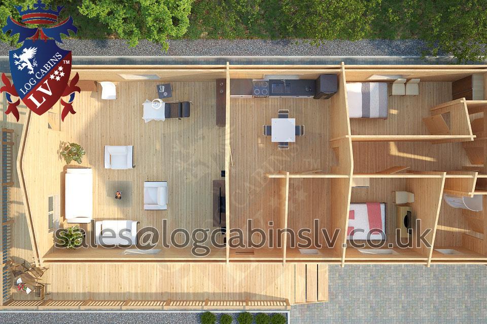 Residential Type Multi Room Log Cabin 6 8 M X 20 0 M
