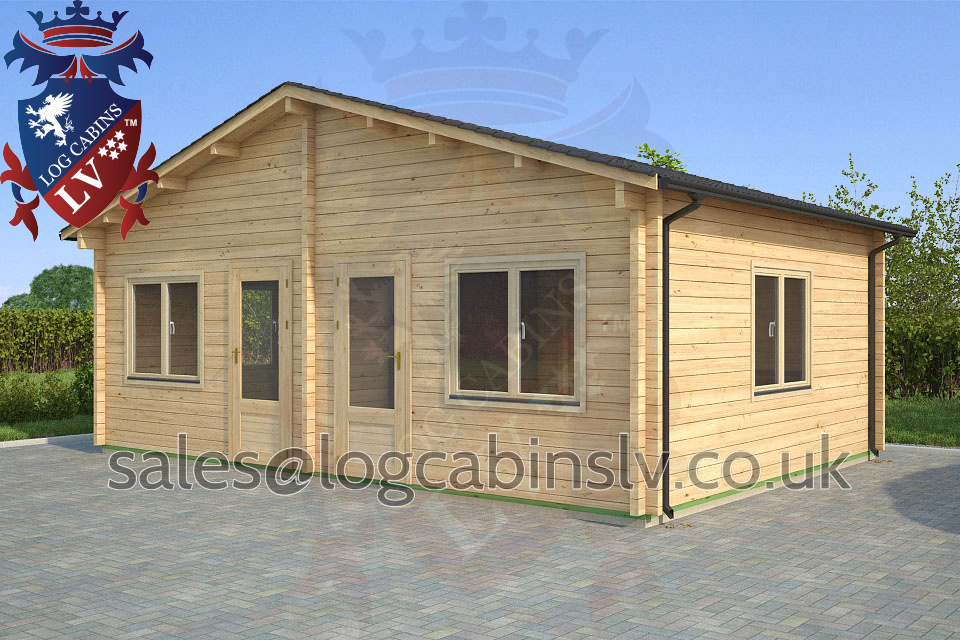 Residential Type Multi Room Log Cabin 7 0 M X 5 0 M