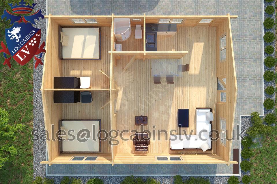 Residential Type Multi Room Log Cabin 7 0 M X 8 5 M