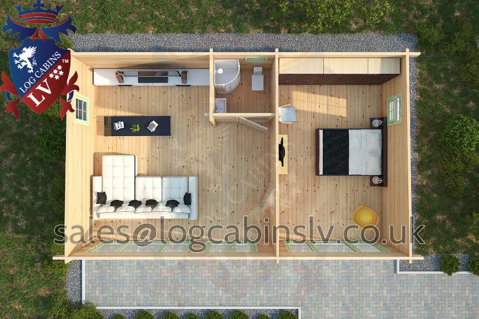 Residential Type Multi Room Log Cabin 9 0 M X 5 5 M